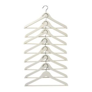 BUMERANG Curved clothes hanger 8p, white,