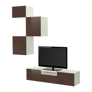 BESTA TV storage combination, white bamboo pattern, high-gloss/brown