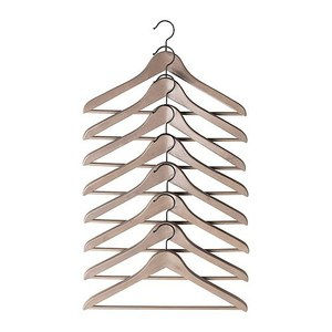 BUMERANG curved clothes hanger 8p, grey brown
