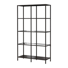 VITTSJO Shelving unit, black-brown, glass